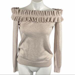 Duffy Off The Shoulder Sweater Medium Heather Tan
